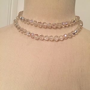 ⭐️CORO NECKLACE DOUBLE STRAND CRYSTALS SPARKLE VTG